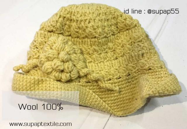 งานถักหมวกจากไหมwool100%